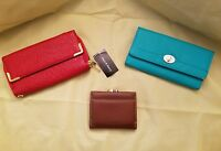 Jane & Berry women's wallet small bifold brown leather. 2 free clutch purses
