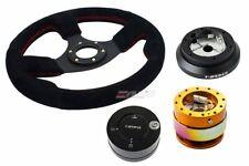 NRG 320mm Race Suede Steering Wheel Red St + 100H Hub 2.0 RGMC Release Lock LB