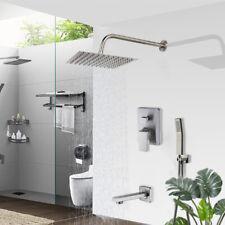 "Brushed Nickel 3-way Mixer Shower Set Faucet 10"" Square Rain Hand Shower Tub Tap"