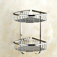 2 Tier Corner Rack Storage Basket Shelf Bathroom Shower Caddy Holder Hanger