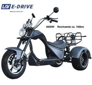 E Scooter Roller Elektro Cobra Trike matt schwarz 4000W 45km/h  ca. 100km Reichw