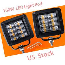 "2x Quad Row 4"" inch 160W LED Work Pod Fog Driving Spot Lamp Truck SUV ATV Square"