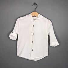 Zara Boys Collection Size 4 Shirt Button Front Hooded White Roll Tab Sleeve