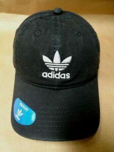 NEW adidas Originals Baseball Cap Hat Trefoil Logo White/Black Relaxed Strapback