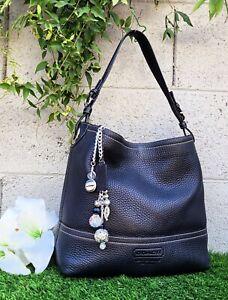 Vintage Coach 11662 pebbled leather bucket shopper tote hobo purse handbag blk