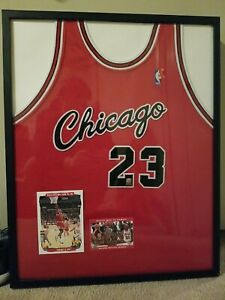 Michael Jordan Signed Red Nike Jersey #23 Framed Autographed