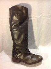 Top Shop Khaki Knee High Leather Boots Size 38