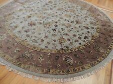 8x8 RUG ROUND Oriental Beige Gold Mauve wool SILK Tabrize hand-knotted