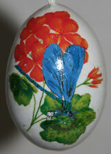 gourd Easter egg, garden or Christmas ornament with dragonfly and geranium