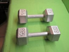 20  lbs. Cast Iron Weight Dumbbells Pair/Set total 40 lbs.