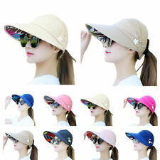 Women Ladies Summer Wide Brim Foldable Visor Outdoor Cap Anti-UV Beach Sun Hat