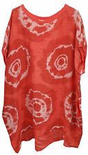 New Womens Italian Fossil Print Linen Baggy Summer Lagenlook Tunic Top Plus Size