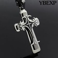 "24""MEN Stainless Steel Gold Black Cross Pendant Necklace Byzantine Box Necklace"