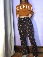 Croft Barrow Red Hearts Lounge Black Pants Pajama Bottoms Sz S