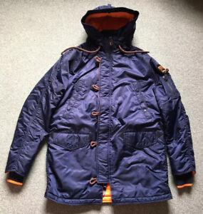 Men's Superdry Flight Jacket Project Parka Coat Snorkel Winter Blue Anorak