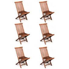 Set 6 sedie pieghevoli in legno teak per tavolo da esterno in giardino