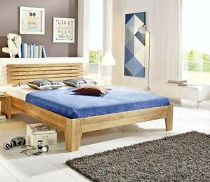 Massivholz Doppelbett 180x200 Wildeiche geölt Bettgestell Ehebett Holzbett Bett