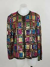 Lawrence Kazaar Women M/L Jacket Embellished Sequin Geometric Hook Closure