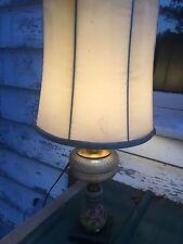 Vtg GWTW Banquet Victorian Lamp Floral Hollywood Regency Cast Metal Oil Electric
