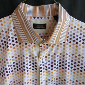 Steven Land Mens Shirt XXL 18.5 36/37 Polka Dot Orange Gold Brown Long Sleeve