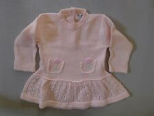 Vintage retro true 60s unused 0 - 6 mo baby girl pink knit dress as new