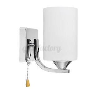 Single Head Glass Indoor Wall Light Sconce Aisle Lamp +LED Bulb & Pull Switch UK