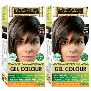 Indus Valley Organically Natural Gel Hair Color Medium Brown For Hairs pack of 2