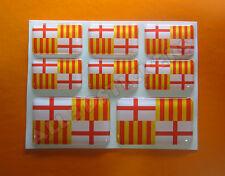 8 x Pegatinas 3D Relieve Bandera Barcelona Ciudad - Todas las Banderas del MUNDO