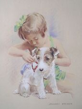 "Morgan Dennis ""Girl with Terrier Puppy"" color pencil illustration c1935"
