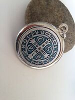 "Saint St. Benedict Jubilee Medal Silver Tone  Medalla Jubilar De San Benito 1.5"""