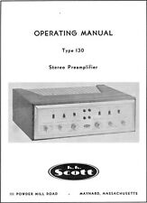 Scott 130 tube stereo pre amp manual & fold-out schematic reprint
