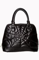 Women's Black Gothic Rockabilly Spider Web Handbag Malice Bag By Banned Apparel
