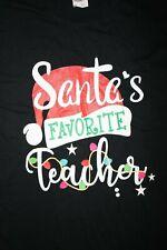 SANTA'S FAVORITE TEACHER T-Shirt  Medium, Black