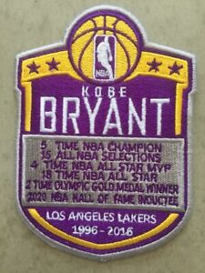 KOBE BRYANT L. A. LAKERS 1996-2016 JERSEY STYLE PATCH 2020 HALL OF FAME INDUCTEE