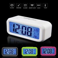 UK Digital LCD Snooze Electronic Alarm Clock with LED Backlight Light Control