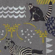 By 1/2 Yard Kokka Echino Canvas Fabric ~ Habitat in Gray ~ Zebra Lemur Owl Deer