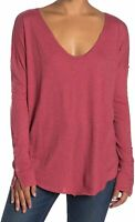 Free People Womens Sienna Scoop Neck Snap Detail T-Shirt Red M