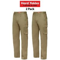 Mens Hard Yakka Cargo Pants 2 PK Gen Y Cotton Drill Work Tough Heavy Duty Y02500