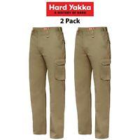 Mens Hard Yakka Cargo Pants 2 PK Gen Y Cotton Drill Work Tough Heavy Duty Y02500