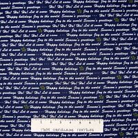 Christmas Fabric - Winter Wishes Happy Holidays Words Navy Blue - Benartex YARD