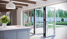 Aluminium Bifold Patio Doors Inc Glass, 3 Panel Door, New, White 2900mm x 2100mm