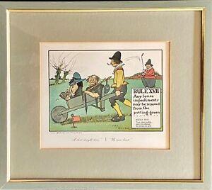 Vintage 1960s Perrier Rules of Golf Framed Advertising Print Rule 17
