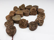 1 x Bronze Druzy Quartz Heart Bead Approx.12mm Gemstones Beads Hearts   (GB1001)