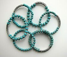 Turquoise Beaded Bracelets with Bar & Tibetan Spacers - Unisex.