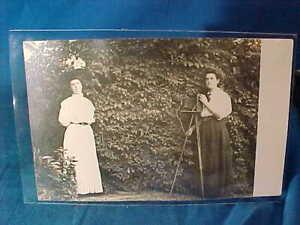 Early 20thc WOMAN PHOTOGRAPHER w Camera on Tripod REAL PHOTO POSTCARD