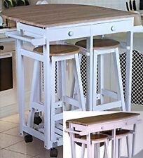 Küchenbar rollbar inkl. 2 Hocker - Eiche - Küchenwagen Küchentisch Küchentheke