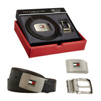 Tommy Hilfiger Leather Belts for Men with 2 Adjustable Buckles and Reversible