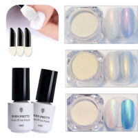 Pearl Nail Glitter Powder UV Gel Nail Polish Top Base Coat w/20Pcs Sponge Brush
