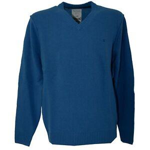 BRAX Herren Pullover V-Neck mit Lammwolle azurblau 21581