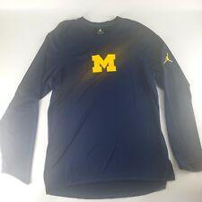 Michigan Wolverines Basketball Jordan Shooting Shirt Long Sleeve Blue Jumpman